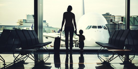 Mother and Son at Airport
